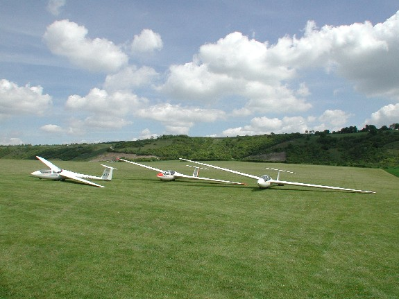 Club gliders at London Gliding Club
