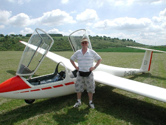 Me after flight in LGC's glider