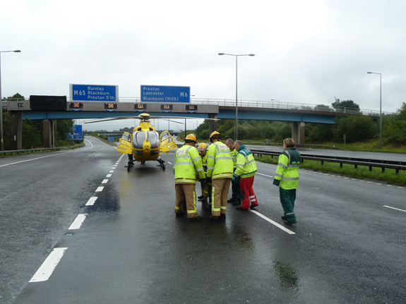 NWAA attending road traffic accident on M6