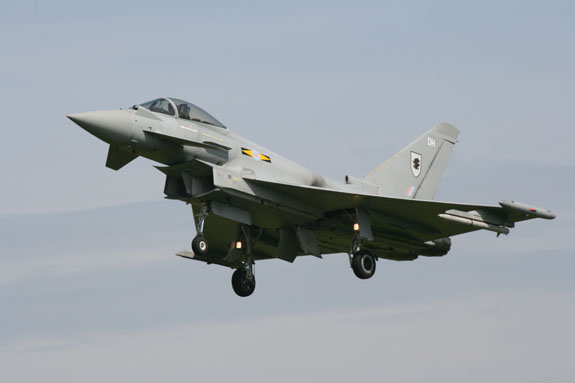 Typhoon landing at RAF Coningsby
