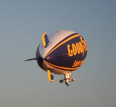 Goodyear blimp taking off from Barton